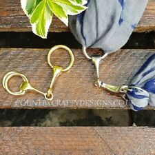 Snaffle Bit scarf ring silver or gold in velvet pouch country equestrian gift