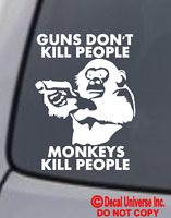 GUNS DON'T KILL PEOPLE MONKEYS DO VINYL DECAL CAR WINDOW BUMPER STICKER FUNNY
