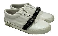 MIU MIU WHITE LEATHER SNEAKERS WITH STRAPS, 38, $695