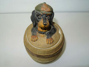 Antique Tabak Dose Keramik Johann Maresch Dackel Dachshund Tabatiere Dog Hund