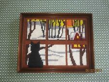 """Wood Framed Cat At Window Needlepoint Wall Hanging - 14 3/4"""" x 12"""""""