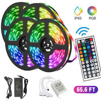 66FT Flexible 5050 RGB LED SMD Strip Light Remote Fairy Lights Room TV Party Bar