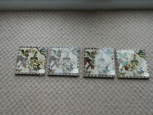 Victorian Style Antique floral fireplace tiles set of 4
