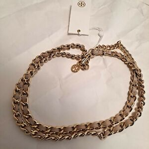 New Tory Burch Leather and Chain T Logo Belt Light Oak / Gold Size XS MSRP $195