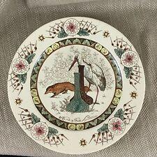 Antique Victorian Esope K & Co plaque VTG Rare Fox & tige Transferware