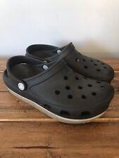 Crocs Coast Clog With White Strip Black Unisex Shoes Women's Size 8 Men's Size 6
