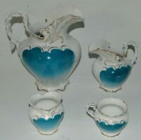 Vintage German Dresden Semi-Porcelain Pitcher lot of 4 Pieces with Gold Trim