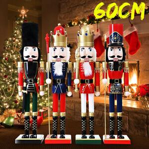 60CM Large Wooden Nutcracker Soldier Handcraft Walnut Puppet Toy Christmas Gift