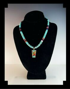 White Fox Creation: Navajo Melissa Yazzie Pendant on Sterling and Turquoise Neck