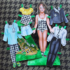 Hand Drawn Paper Doll Print - Frog - Doctor Suit and Tie Tomboy Retro Swimsuit