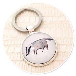 Badger Cute Wildlife keyring key ring