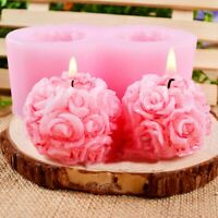 3D Rose Flowers Ball Shaped Silicone Decorative Soap Candle Cake DIY Molds Mould