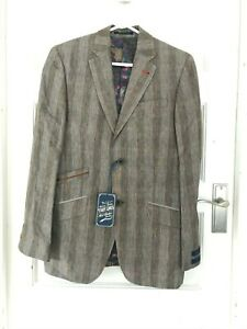 TED BAKER TIGHT LINES STRIPED JACKET BLAZER UK 36 R BROWN BNWT RRP £359.00