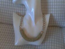 gold colour multi bead pendant Gold colour chain necklace with