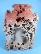 """Vintage Chinese Carved Soapstone 7"""" Single Vase Brush Pot (#92-17)"""