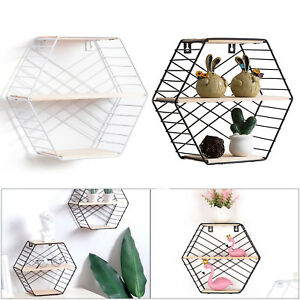 Hexagon Metal Wire stripes structure Wood Wall Shelf Loft Dorm Storage Shelf UK