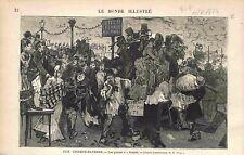 Place à 5 Francs Avenues des Champs-Elysées Paris Spectacle de Rue GRAVURE 1873