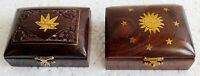 Wooden Box Hand Carved Brass Inlay Work Trinket Jewelry Storage Box 2