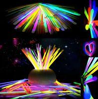"""100 Pcs 8"""" Glow Sticks Bracelet Necklaces Color Neon Halloween Decoration Lights"""