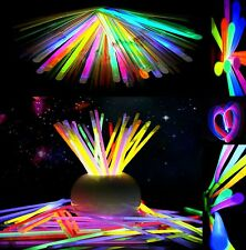 "100 Pcs 8"" Glow Sticks Bracelet Necklaces Color Neon Halloween Decoration Lights"