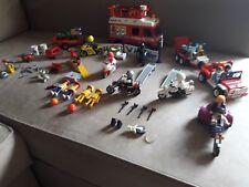 RARE Lot playmobil camion racing 3614 moto biker trike police 3478 3779 3831-2