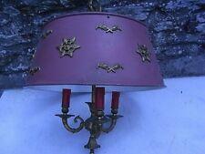 ANCIENNE LAMPE BOUILLOTTE BRONZE ABAT JOUE TÔLE LUSTRE SUSPENSION LAMP VINTAGE