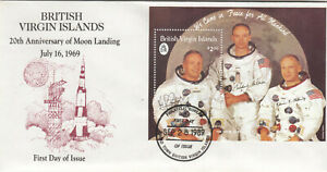 (89370) British Virgin Islands FDC Moon Landing minisheet 1989