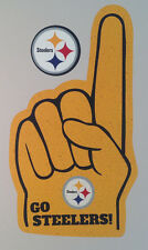 "Pittsburgh Steelers FATHEAD Lot/2 Graphics (Fan Finger 22""x13"" & Logo 5""x5"") NFL"