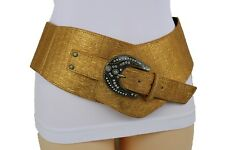 Sexy Women Wide Band Western Belt Hip Waist Metallic Gold Color Plus Size XL XXL