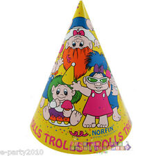 TROLL DOLLS CONE HATS (8) ~ Vintage Birthday Party Supplies Favor Paper Dam Doll