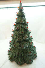 VINTAGE CERAMIC CHRISTMAS TREE 21in TALL GREEN WITH RED BULBS ONE PIECE d