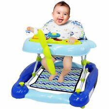 Baby Boys Age 6 Months Blue Aeroplane Rocker Walker inc Lights Toys & Sound