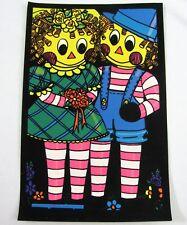 Vtg Raggedy Ann & Andy Doll Flocked Black Light Poster Pro Arts UV Wall print