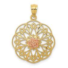 14k Yellow & Rose Gold Polished Rose in Round Filigree Pendant