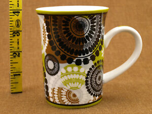 Vera Bradley 9 oz.Mug abstract geometric floral black white brn grn collectible