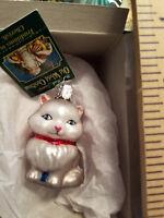 Cat Ornament Glass Grey Miniature Cat Old World Christmas 12334G 8