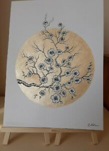 Original Black INK & GOLD Watercolour Blossom Painting Flowers Floral Art