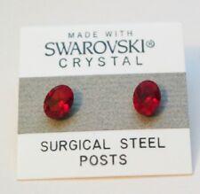 8mm piccolo cristallo rosso ovale cerchio orecchini a lobo