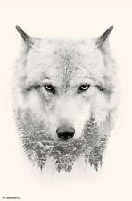 WOLF - TREE COLLAGE POSTER - 22x34 - ILLUSION NATURE 15700