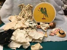 """Vintage yellow Doll Carrying Case with parakeets + 8"""" Eegee doll + doll clothes"""