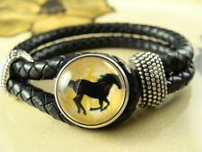 HORSE LOVER SNAP BUTTON on Black leather bracelet gift jewelry