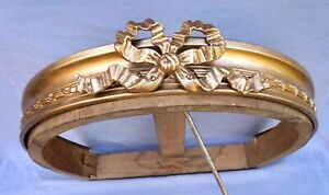 Antique French Gilt Brass Finial Bed Canopy Ribbon Crown Curtain Ceiling Late 19
