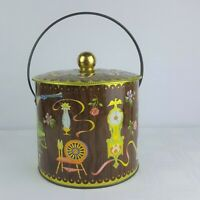 """Vintage Daher Canister Tin Biscuit Cookie w/ Handle Homestead Print England 7"""""""
