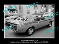 OLD HISTORIC PHOTO OF NEW YORK MOTOR SHOW 1970 PLYMOUTH BARRACUDA CAR DISPLAY 2