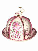 Anthropologie Gold Trim Accent Domed Butter Dish Mauve