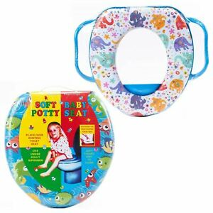 Potty Training Padded Toilet Seat Baby Soft Padded With Handles Pattern Design