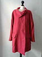 Paul Costelloe Wool Mohair Blend Coat Size 3 UK 14 16 Lagenlook Raspberry Pink