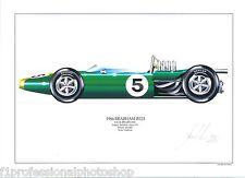 Jack Brabham ltd.ed.signed art print- 1966 Brabham BT19