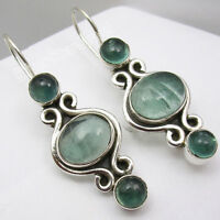 925 Sterling Silver APATITE Stone Dangle Earrings 1.5""