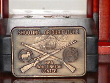 NRA Shooting For Our Future Brass Metal Belt Buckle